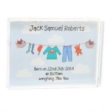 New Baby Boy Washing Line Crystal - Personalised Newborn or Christening Gift